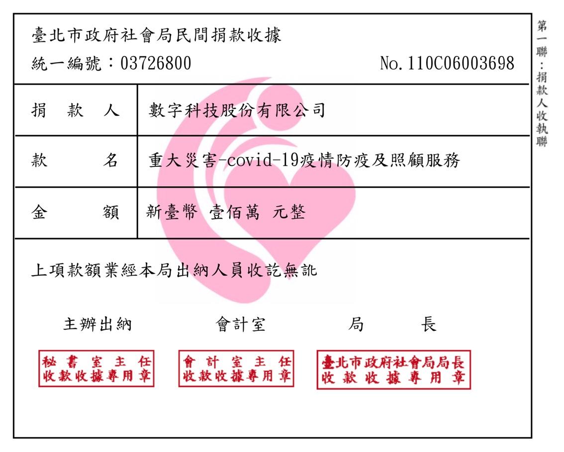 贊助臺北市政府covid-19疫情防疫捐款